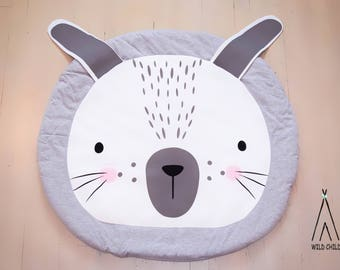 Bunny Design, round, play mat, nursery décor, crawling mat, baby shower gift, tummy time  Easter gift