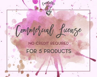 Limited Commercial License - NO Credit required / for 5 products