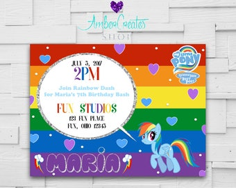 Rainbow Dash My Little Pony Birthday Party Invitation