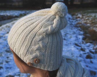 White hat, alpaca wool, Cable knit hat, Womens white hat, romantic hat, Gift for her  Valentines day gift