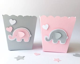 Elephant Pink Gray Favor Paper Boxes Girl Baby Shower 1 st Birthday Party Decor Popcorn Candy Boxes Elephant Theme Baby Decor Its a Girl