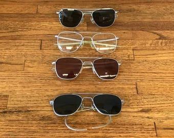 Vintage Men's Aviator Sunglasses circa 1960's - American Optical Co./Randolph Engineering Inc. Set of 4 (Group C)