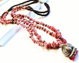 Rhodonite Double strand necklace.
