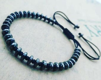 Hematite Macrame Bead Bracelet