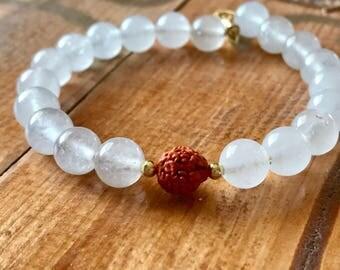 Crystal and Rudraksha seed meditation bracelet