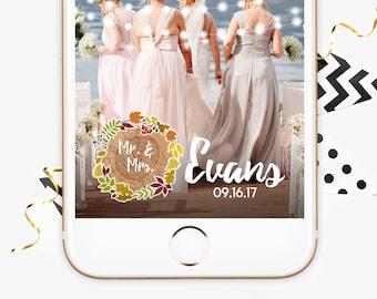Fall Floral Wedding Geofilter, Fall Rustic Wedding Snapchat Filter, String Lights Wedding Geofilter, Floral Wedding Snapchat, Fall Wreath