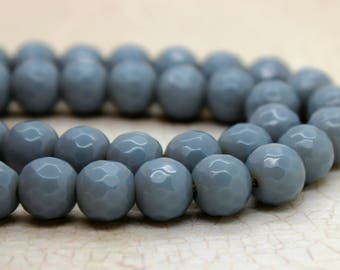 Dye Agate Faceted Round Gemstone Beads (8mm)