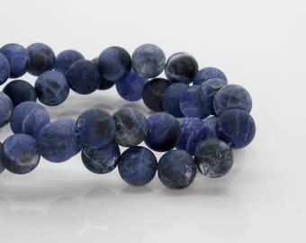 Sodalite (Dark Purple) Matte Round Gemstone Beads