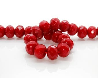 Red Dye Jade Faceted Rondelle Gemstone Beads 13mm x 16mm (Full Strand)