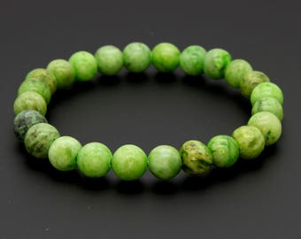 "Smooth Mixed Green Beads Size 8mm. Length 8"" Semi-Precious Gemstone Elastic Cord Bracelet Accessories"