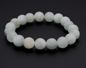 "White Gemstone Beads Size 10mm. Length 8"" Semi-Precious Gemstone Elastic Cord Bracelet Accessories"