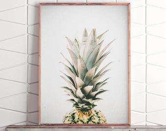 Printable Pineapple, Wall Print Pineapple, Pineapple Wall Art, Pineapple Print Art, Pineapple Art, Tropical Fruit Decor, Pineapple Poster