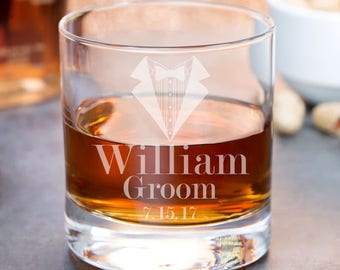 Personalized Whiskey Glasses - Wedding Whiskey Glasses - Best Man Gifts - Groomsmen Rocks Glass - Groomsmen Gifts - Engraved Groomsmen Gift