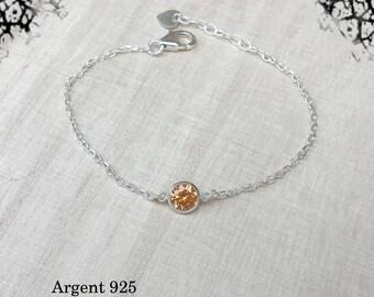 Bracelet 925 sterling silver Crystal stone ocre