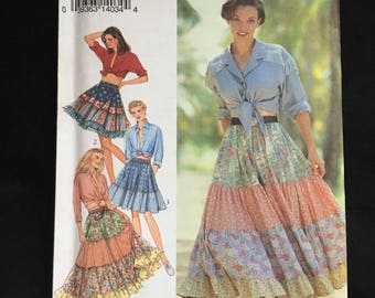 Vintage Sewing Pattern, 1990s Tiered BoHo Skirt