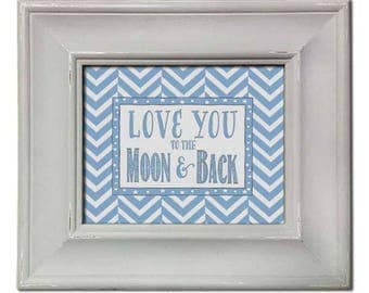 Blue Love You to the Moon and Back - Framed Art