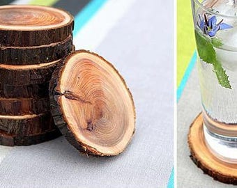 Natural tree branch coasters