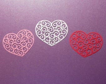 "12 Swirly Heart Die Cuts - 2 1/2"" x 2"" - Cardstock Paper Hearts - Heart Embellishments - Scrapbooking - Card Making"
