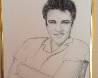 Elvis charcoal drawing