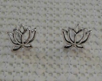 Lotus Earrings, Solid Sterling Silver Lotus Flower Stud Earrings, Lotus Jewelry