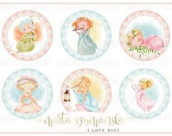 Set of 6 Little Angels - Digital Stamps - Printable  - Instant Download - Christmas / Baptism / Christening - pastel colour
