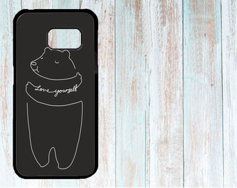 Cover for Samsung, Custom Cover for Samsung, Personalized Cover, Case for Samsung Galaxy S3/S4/S5/S6/S7/S8, Cute Bear, Love Yourself, black
