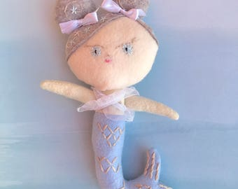Baby Giggles Mermaid Doll, Handmade felt doll with embroidery details based on pattern from Aimee Rae.  Looking for a loving forever home.