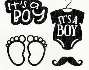 It's A Boy SVG Files, Baby Boy dxf, png, eps, Silhouette Studio, Cutting File