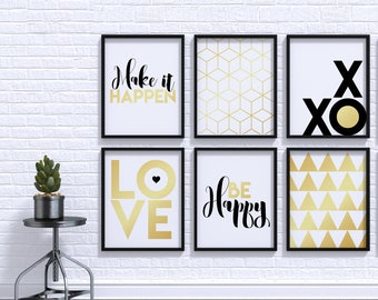 Gallery Wall Illustrations, Set of 6, Plus 2 Bonus, Printable Decor, Poster Set