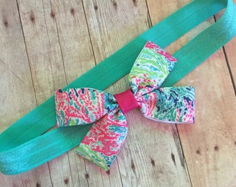 Lilly Pulitzer inspired, Baby headband, baby bow, bow with headband