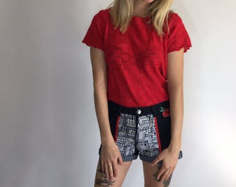 Denim Shorts   Upcycled   Embellished   Size 10