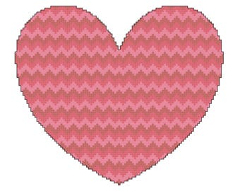 Red and Pink Zigzag Heart