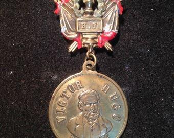 Antique Medal Victor Hugo Souvenir Fete 1881, vintage, collection medal, vintage medal victor hugo, Sourvenir