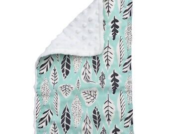 BABY BURP CLOTH - forest • floor ~ mint & black
