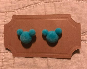 Turquoise mickey mouse inspired fuzzy sarrings