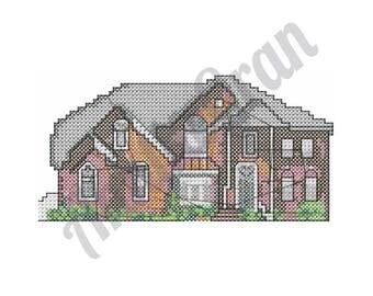 Cross Stitch House - Machine Embroidery Design