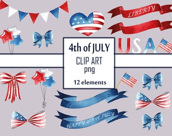 4th of july digital clipart American flag United States USA flag Fourth of july Independence day Heart clipart Digital ribbon Digital bows