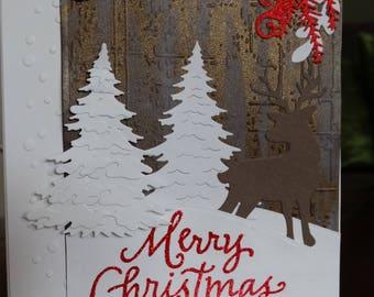 Deer Woodland Winter Scene Christmas Card