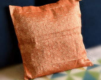 "orange brocade silk cushion cover with tassels 16"" by 16"""