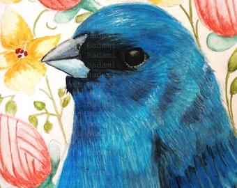 Indigo Bunting Bird Audubon Ornithology Portraits Bird Paintings 8x10 Print of Original Watercolor