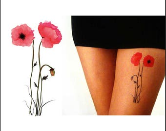 Poppies - Temporary Tattoo - Watercolor - Gift Ideas - Set of 2