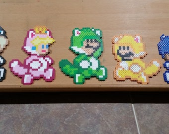 Cat Mario, Cat Luigi, Cat Peach, Cat Rosalina, and Cat Toad | Custom Made | 8-bit | Perler Bead Art