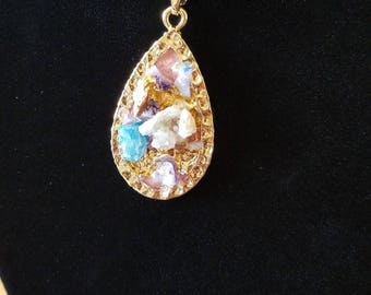 Druzy Crystal Tear Drop Pendant