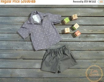 25% OFF 12 Month Boys Grey Button up Shirt and Shorts Set