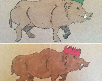 Pair of wild boar Christmas crown cards (hand drawn)