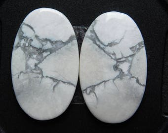 Pair ! Top quality Howlite gemstone Cabochons looking Excellent Quality Natural handmade Gemstone Top quality 29.45cts (26x15x3)mm