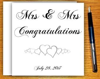 Wedding Card, Mrs and Mrs, Gay Wedding Card, Engagement Card, Congratulations, Greeting Card, Lesbian Wedding, Free UK Shipping