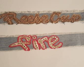 Denim rhinestone chokers w/slogan