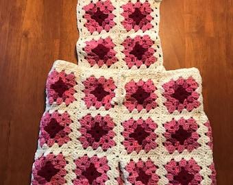 Crocheted Granny Square Shortalls - Vintage Style!