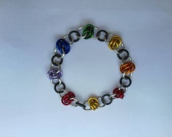 Stretchy Chainmaille  Bracelet in Pride Colours